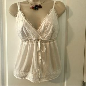 White lace top with bow